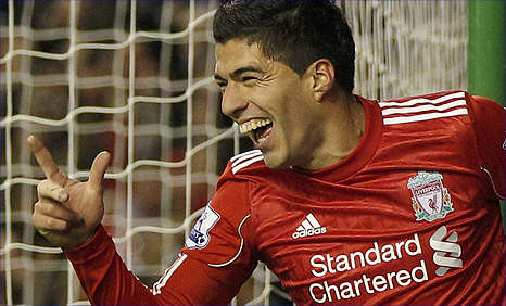 Luis Suarez celebrates after his goal for Liverpool in the 2-0 win over Stoke