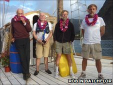 The four-man crew sailing the An-Tiki across the Atlantic Ocean