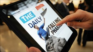 The Daily displayed on an iPad