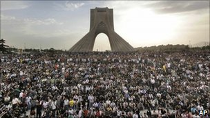 Iranians throng Azadi (Freedom) Square in support of presidential candidate Mir Hossein Mousavi, who claimed fraud had marred the recent presidential election, in Tehran, Iran, on 15 June 2009