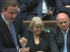 Prime Minister David Cameron answering questions in the House of Commons