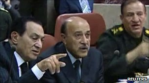 Hosni Mubarak and Omar Suleiman meet with top commanders in Cairo, 30 January