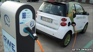 Electric car being recharged in Germany