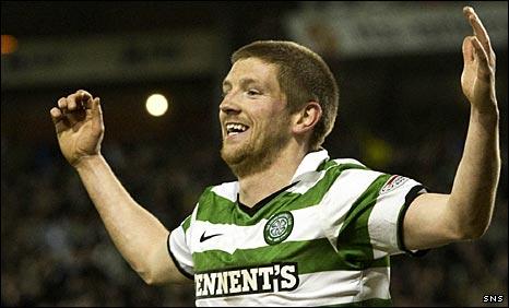 Mark Wilson celebrates his Celtic goal