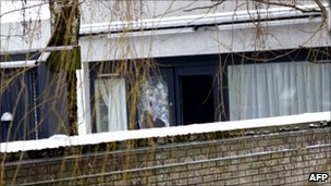 A shattered window at Mr Westergaard's home in Aarhus, January 2010