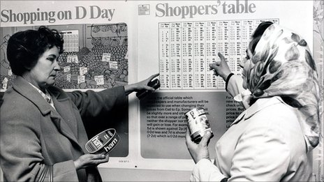Shoppers look at a conversion table