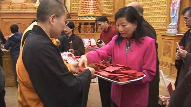 Chinese Buddhists mark New Year at a temple in Manchester