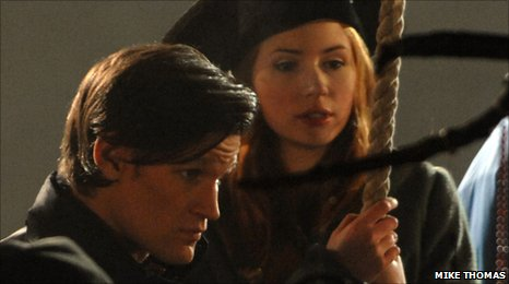 Matt Smith and Karen Gillan filming in Charlestown