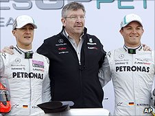 Michael Schumacher, Ross Brawn and Nico Rosberg