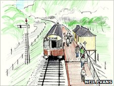 Artist's impression of the platform at Corwen