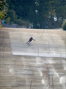 Skier on the slope at Pontypool (Photo courtesy Snowsport Wales)