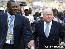 Issa Hayatou of CAF and Sepp Blatter of Fifa at the Nations Cup in 2010