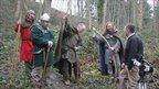 Re-enactors and crew at the site of the battle of Crogen