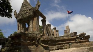 A Cambodian flag flutters at the Preah Vihear temple