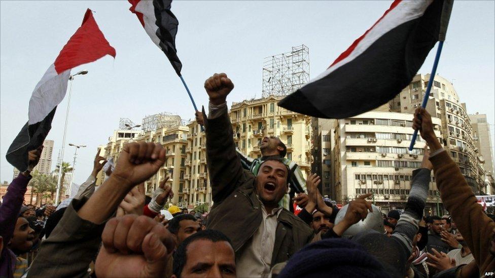 Anti-Mubarak protesters in Cairo's Tahrir Square, Egypt - 4 February 2011