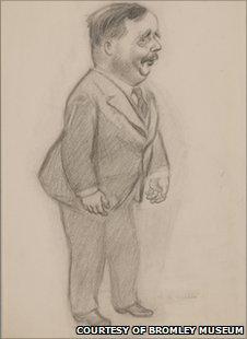 A cartoon of HG Wells by Alex Gurney