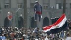 An effigy of President Mubarak hangs from a traffic light in Tahrir Square, Cairo - 4 February 2011