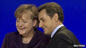 German Chancellor Angela Merkel and France's President Nicolas Sarkozy, 4 Feb 11