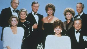 The cast of Dallas in 1983