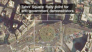 Section of a map showing Tahrir Square
