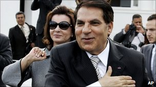 File photo (2009) of then Tunisian President Zine al-Abidine Ben Ali and his wife Leila in Carthage, near Tunis