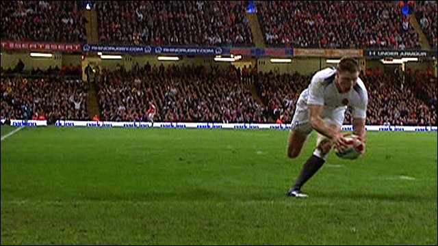 Chris Ashton scores for England