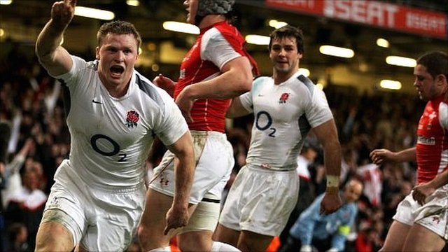 Chris Ashton celebrates his second try against Wales