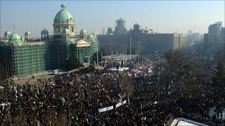 Protesters gather in front of parliament in Belgrade, 5 February