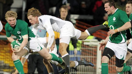 Ulster&amp;apos;s Nevin Spence in action for the Irish Wolfhounds against the Engand Saxons at Ravenhill 