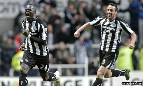 Cheik Tiote (left) celebrates his spectacular equaliser