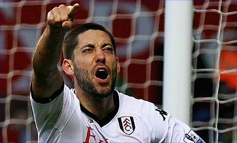 Fulham striker Clint Dempsey celebrates his equaliser at Aston Villa