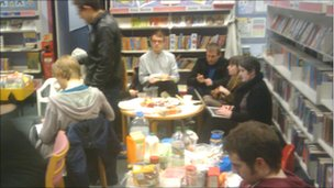 Sit-in at News Cross library