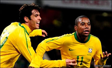 Brazil's Kaka and Robinho