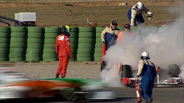 Felipe Massa's stricken Ferrari