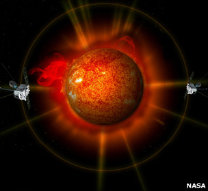 Stereo satellites move either side of Sun