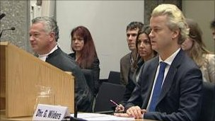 Dutch MP Geert Wilders in court  (courtesy Dutch TV)
