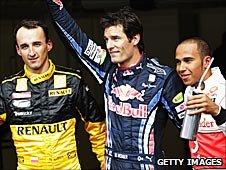Robert Kubica, Mark Webber and Lewis Hamilton
