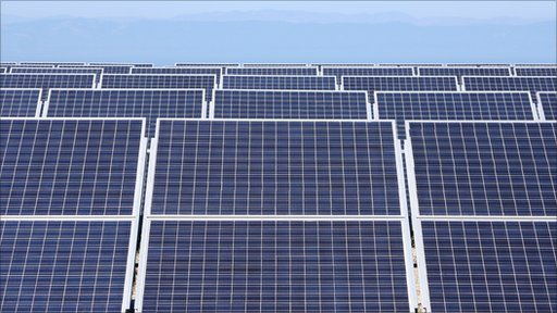 Banks of solar panels