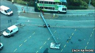 Streetlamp blown over