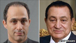 Egyptian President Hosni Mubarak (right) and his son Gamal (left)