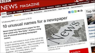 10 unusual names for a newspaper