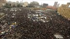 Egyptian anti-government protesters gather at Tahrir Square in Cairo on February