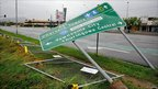 Damaged road sign in Townsville. 3 Feb 2011