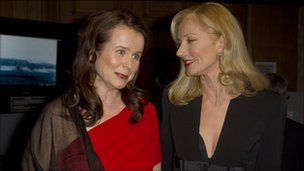 British actresses Joely Richardson, right, and Emily Watson arrive for the Evening Standard British Film Awards
