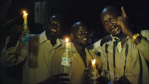 Southern Sudanese celebrate with candles in Juba. Photo: 7 February 2011