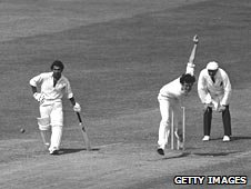 England's John Snow bowls as India's Sunil Gavaskar backs up at the non-strikers' end