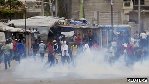 Demonstrators in downtown Port-au-Prince on 7 February