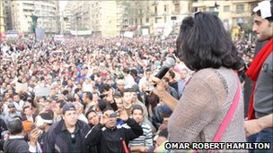 Ahdaf Soueif speaks to the crowd in Cairo's Tahrir Square (Photo: Omar Robert Hamilton)