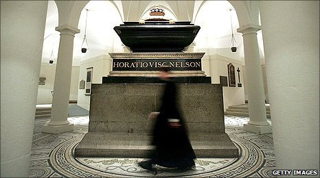 Admiral Lord Nelson's tomb in the crypt of St Pauls Cathedral, London (Photo: Getty Images)