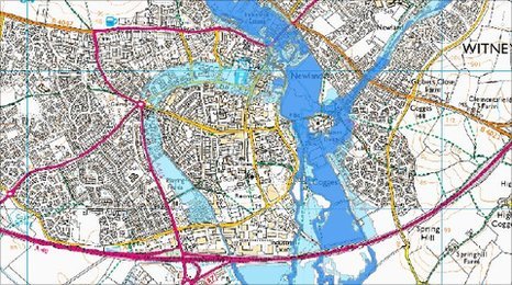 Witney flood map
